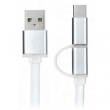 كيبل 2 في 1 للشحن والتزامن من USB إلى Micro USB مع محول مدمج إلى USB type C