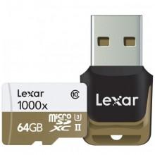 ليكسار بطاقة ذاكرة ماكرو 64 جيجا للجوالات والكاميرات 1000x microSDXC 64GB UHS-II/U3