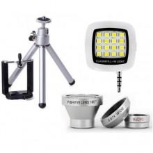 مجموعة ادوات تصوير للجوال (ستاند - عدسات - فلاش )