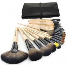 مجموعة فرش مكياج مكونة من 24 قطعة مع مقابض خشبية وحقيبة من جلد