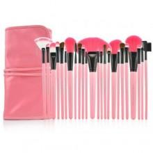 مجموعة فرش مكياج للمحترفين مكونة من 24 قطعة - وردي