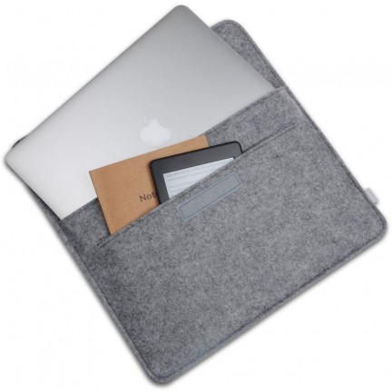 MacBook Wool Felt Sleeve Case Cover With Pouch Bag 15 Inch Grey