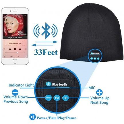 Men Women Outdoor Sport Bluetooth Stereo Magic Music Hat-Black
