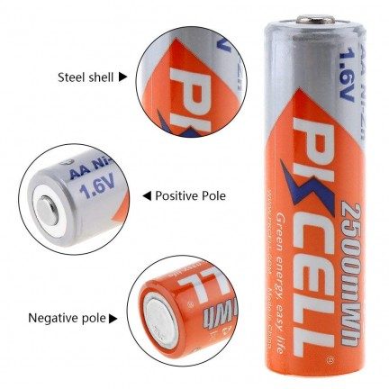 PKCELL 1Pack/4Pcs 1.6V NI-ZN AA Rechargeable Battery in 2500mwh