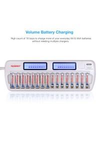 Tenergy TN438 16-Slot Smart Battery Charger for AA/AAA NiMH/NiCd LCD Display