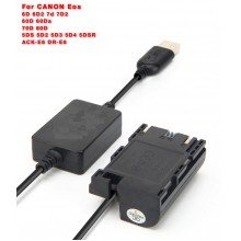 LP-E6 Power Supply Kit for Canon 5D Mark II/III/IV, 5DS, 5DS R, 6D, 6D Mark II, 7D, 7D Mark II, 60D, 70D, 80D