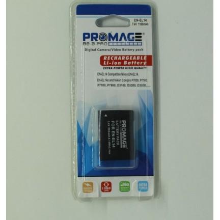 Promage Rechargeable Li-ion battery EN-EL14 For Nikon D3300 D3400 D5500