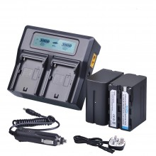 2Pc 7800mAh NP F970 Power Battery + Ultra Fast LCD Dual Charger for Sony NP F970 F960