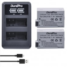 Durapro 2pc Battery For Canon LP-E8  Li-ion Batteries + LCD Dual USB Charger For Canon EOS 550D 600D 650D 700D Camera
