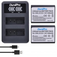 DuraPro 2pc LP-E10 LP Camera Li-ion Battery + LCD USB Charger For Canon 1100D 1200D Kiss X50 X70 Rebel T3 T5