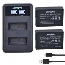 DuraPro 2 x 1800mAh LP-E12 Battery + LCD USB Dual Charger EOS M2,M10,M50,M50 Mark II,M100,M200,SX70 HS