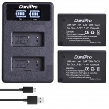 DuraPro 2 x 1040mAh LP-E17 Battery + LCD USB Dual Charger for EOS M3 750D 760D 800D