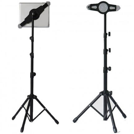 Tripod Floor Tablet Stand Height Adjustable 360 Rotating Tablets Holder for iPad Mini Air Pro
