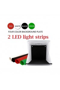 Foldable LED Light Box Softbox Kit with 4 Colors Backdrops for Photography, Built-in 2pcs LED Strips