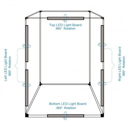 PULUZ Professional 200cm/2m Photography Photo Studio Box 6 LED Light Panels 240W 5500K 2 Meter Photo Lighting Shooting Tent Kit