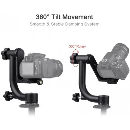 Bk-45 Panoramic 360 Degree Vertical Pro Gimbal Tripod Head 1/4 inch Screw For Dslr Camera Telephoto Lens Quick Release Plate