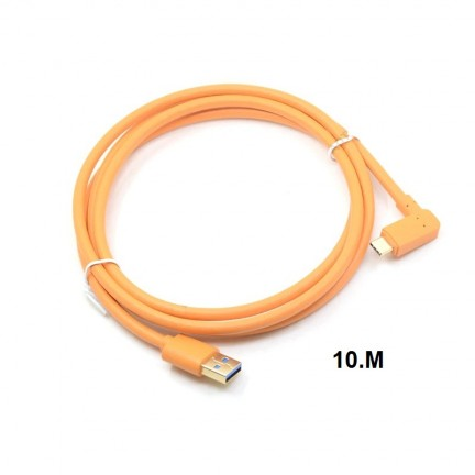 USB 3.0 to USB-C (High-Visibility Orange) for tethering a USB 3.0 camera to a computer with the smaller USB-C port 10m