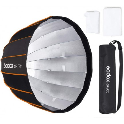 Godox QR-P70 70CM Quickly Release Parabolic Deep Softbox+Honeycomb Grid for Bowens Mount Studio Flash