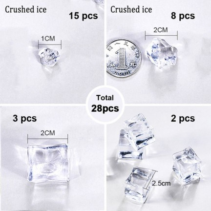 28pcs Transparent Granule Ice Artificial Ice Photography Props for Beer Whiskey Soda Drink Photography Background Accessories