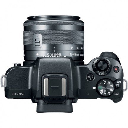 Canon EOS M50 EF-M 15-45mm IS STM Kit Black+Rode VideoMic GO Microphone,Manfrotto PIXI Mini Tripod and Smartphone Clamp Vlogger Kit