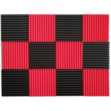 Black&Red Charcoal Acoustic Foam 1inch X 12 X 12 inch
