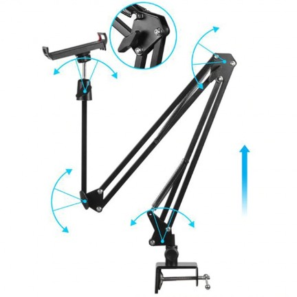 Tablet Stand Adjustable Microphone Suspension Boom Scissor Arm Stand