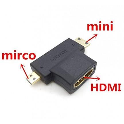 3 in 1 HDMI Female to Mini HDMI Male + Micro HDMI Male Adapter Connector