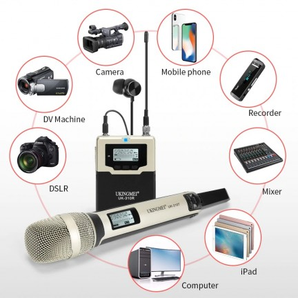 Portable Wireless Microphone For DSLR Camera UHF Handheld Cordless Microphone