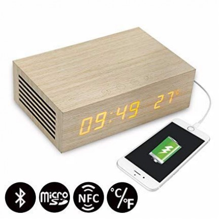 HomTime Speaker Bluetooth and Alarm Clock With Wireless Charging - M9qi