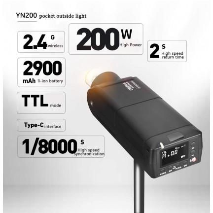YONGNUO YN200 Flash Light TTL HSS 2.4G 200W Battery with USB Type C Compatible