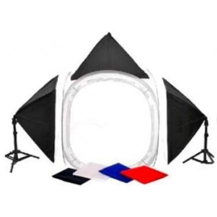 Photography Kit - 80x80cms Soft Box Tent 60x60cms Soft Lights (150W)