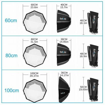 Selens 60cm Octagon Softbox Umbrella Bowens Mount for Studio Light Strobe