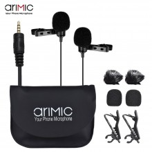 AriMic Dual-Head Clip on Lapel Microphone