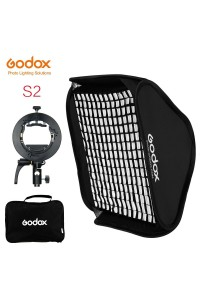 Godox S2 Bowens Mount Bracket with Softbox, Grid & Carrying Bag Kit (80x80cm )