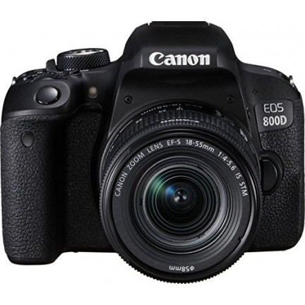 Canon EOS 800D DSLR with EF-S 18-55 mm f/4-5.6 IS STM - Black