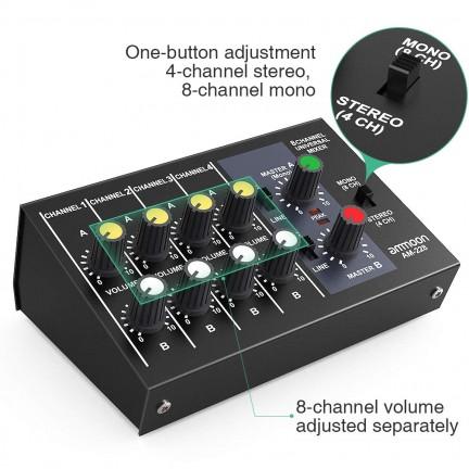 8 Channels Metal Mono Stereo Audio Sound Mixer