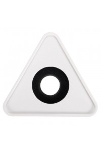Plastic Microphone Interview Triangular Logo Flag Station White