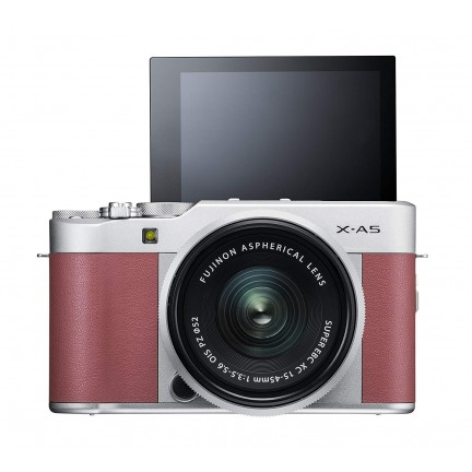 Fujifilm X-A5 (Pink) with Silver XC 15-45 lens