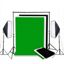 Photo Studio Background Support & White Black Green Screen Softbox Lighting Kit