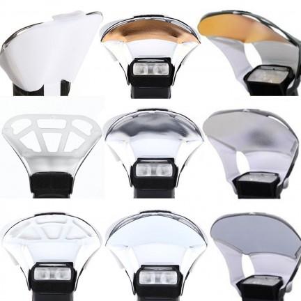 Universal Speedlight Flash Diffuser/Softbox Honeycomb Grid&Tri-Color Reflector