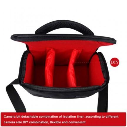 حقيبة كتف للكاميرات اسود-احمر