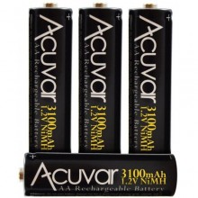 Acuvar High Capacity AA Rechargeable Batteries 3100mAh NiMH 4 Batteries
