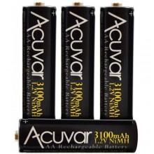 Acuvar High Capacity AA Rechargeable Batteries 3100mAh NiMH 4 Batteries