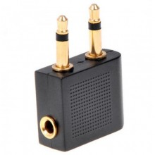 Airplane Travel STEREO Headphone Earphone Jack Audio Adapter Converter 3.5mm to 2x3.5mm