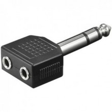 Audio 6.35mm Mono Plug Male to Dual 2 x 3.5mm F