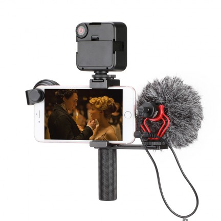 Handheld Phone Vlogging Video Stabilizer Set with Boya BY-MM1 Microphone/LED Video Light