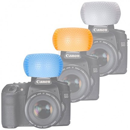 3 Color Pop Up Flash Diffuser Cover For Canon Nikon DSLR Camera